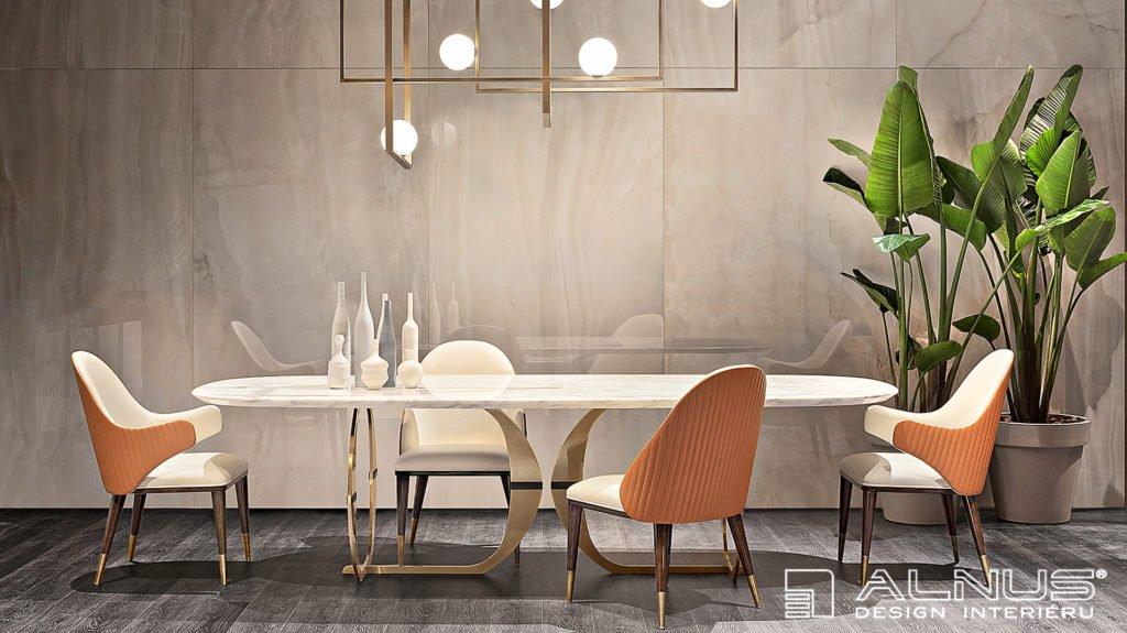 design jídelního stolu z mramoru v v luxusním interiéru domu